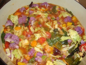 Harvest Minestrone with Purple Cauliflower