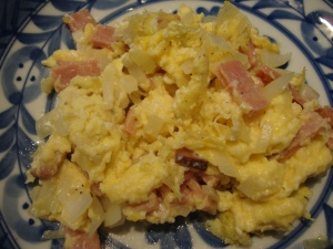2 Egg Omelet With Ham and Onion