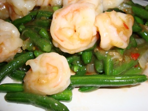 Prawns and Green Beans in XO Chili Sauce