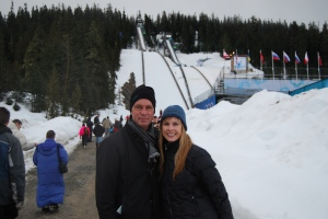 Jim and Me in front of the ski jump.