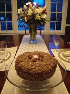 Chocolate Cake with Coconut, Pecan Frosting